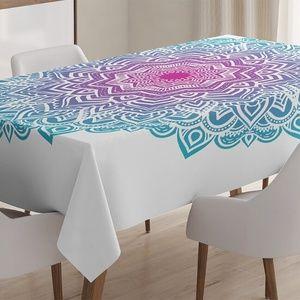 "Tablecloth 52"" x 70"" Floral Ethnic Mandala Print"